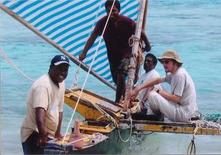 Peter Rudiak-Gould, right, heads to sea with a crew of Marshall Islanders