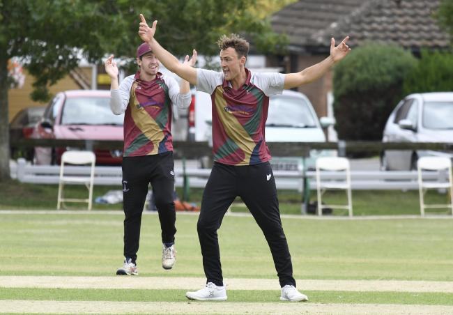 Lloyd Sabin celebrates a wicket during Banbury's win over Horspath Picture: David Fleming