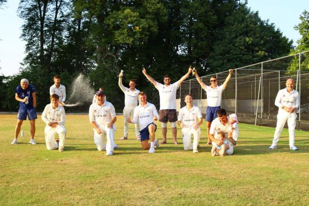 Tiddington celebrate winning the Oxfordshire final of the National Village Cup  Picture: Tiddington CC