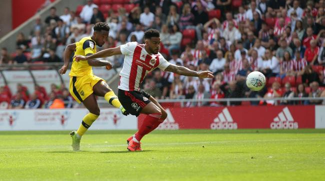 Tariqe Fosu puts Oxford United ahead at Sunderland on the opening day of last season Picture: Richard Parkes
