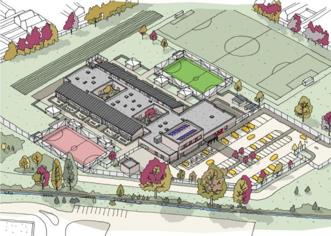 An illustration of the new Orion Academy building in Blackbird Leys