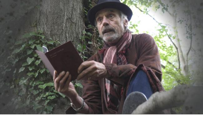 Jeremy Irons reads the Little Girl with No Voice by Frances Ackland-Snow in a tree on the edge of Watlington for Artweeks