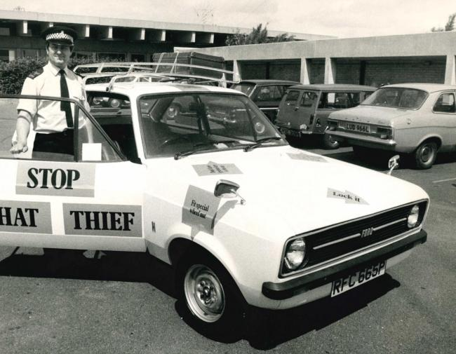 Sergeant Mike Lawrence of Thames Valley Police pictured with the force's new anti-theft message car in Oxford in June 1976. Picture: Oxford Mail