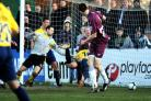 Jack Midson dives in to put Oxford United 2-0 ahead at Chelmsford on Saturday