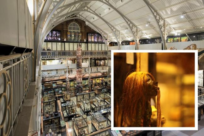 The Pitt Rivers Museum in Oxford. Inset, one of the shrunken heads which has now been removed