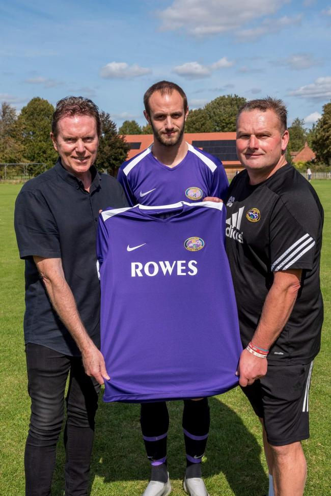 Division 2 South side Letcombe will be sponsored by local newsagents Rowes this season. Mike Rowe (left) presents the new shirt to manager Garry Cook (right) and captain Josh Fowler