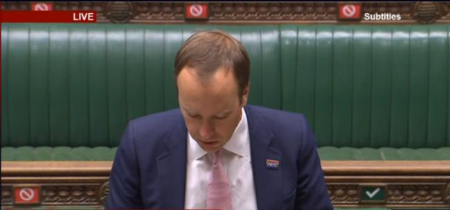 Matt Hancock stamps out testing hack in parliament
