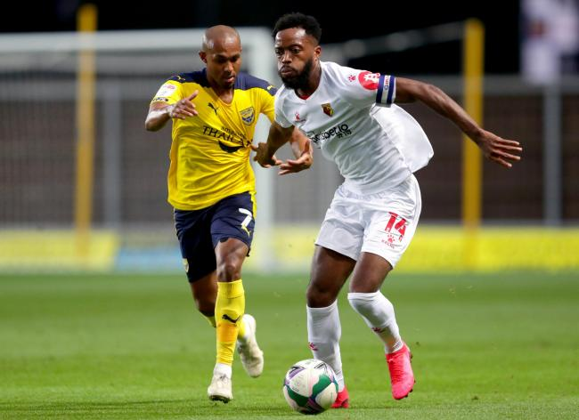 Rob Hall (left) put Oxford United ahead in the first half against Watford   Picture: PA Wire