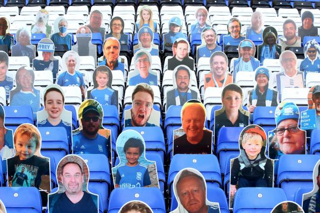 A general view of cardboard cutouts of Birmingham fans in the stands