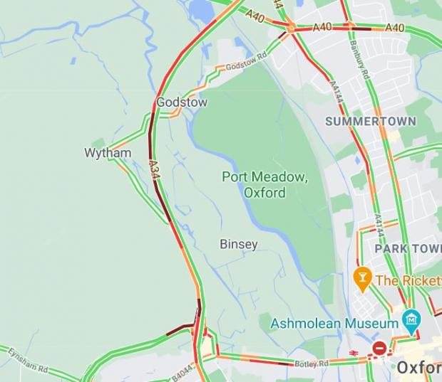 Oxford Mail: Traffic on the A34 at 3.49pm via Google Maps