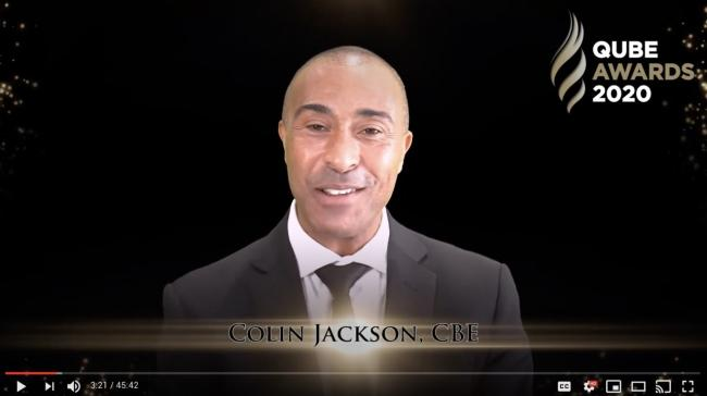 Colin Jackson hosting Qube Learning's virtual awards ceremony. Picture: YouTube