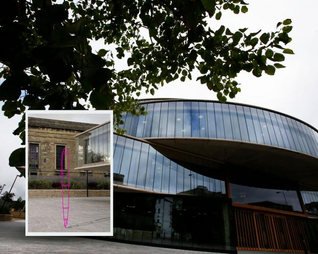 A pink pen sculpture (inset) will be erected outside the Blavatnik School of Government.