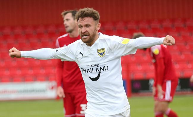 Matty Taylor celebrates his first Oxford United goal at Accrington Stanley   Picture: Richard Parkes