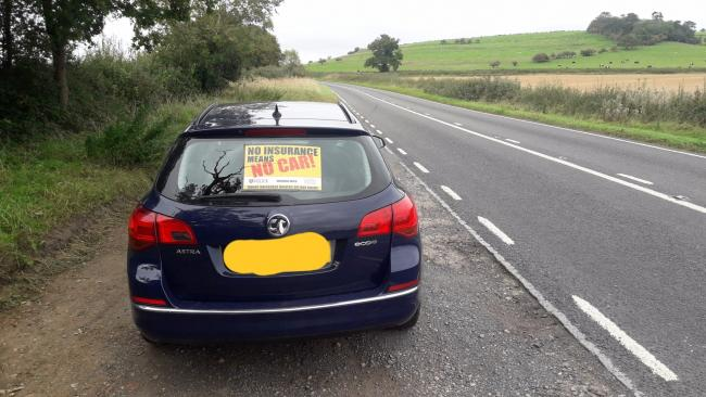 Vauxhall Astra taken by police for no insurance. Picture: Thames Valley Police Roads Policing Twitter
