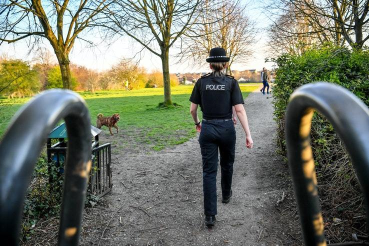 Thames Valley Police officer on a lockdown patrol