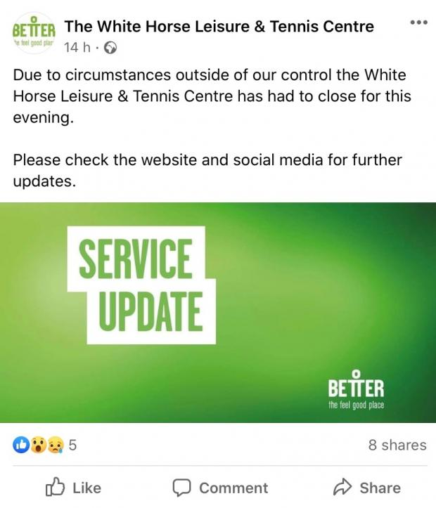 Oxford Mail: White Horse Leisure and Tennis Centre closure