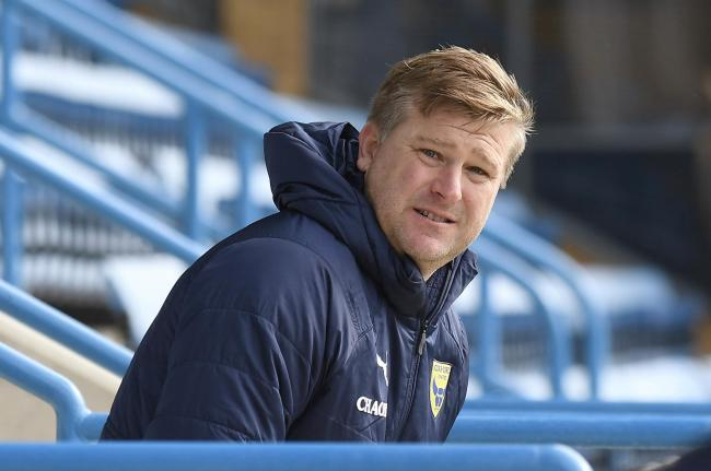Karl Robinson at Priestfield last weekend, where Oxford United were unhappy with the makeshift changing room    Picture: David Fleming