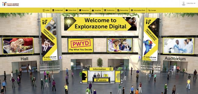 The virtual 'digital lobby' for the If Oxford science festival's Explorazone event today. 	  Picture: If Oxford/ Oxfordshire Science Festival