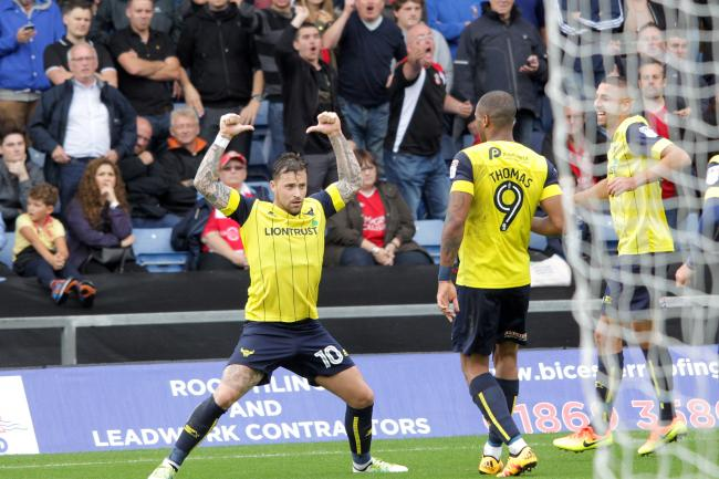 Chris Maguire celebrates scoring from the penalty spot against Swindon Picture: Ric Mellis