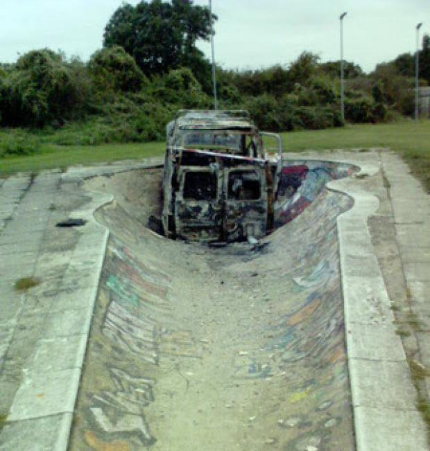 The burned-out van in the Botley Bowl in 2009