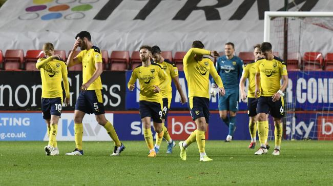 Oxford United players react to falling 2-0 down at Charlton Athletic  Picture: David Fleming