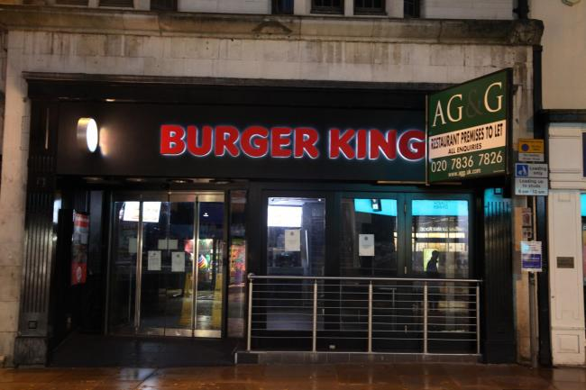 TV screens at Oxford's Burger King store were still switched on seven months after it closed. Picture: Liam Rice