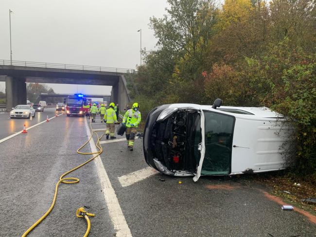 Fire crews attended two crashes on the M40 yesterday Picture: Facebook/Oxfordshire Fire and Rescue Service