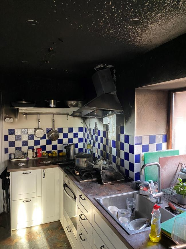 Firefighters tackle house blaze started from cooking abandoned on hob