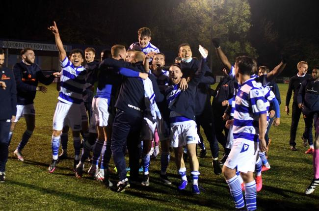 Oxford City celebrate their victory over Northampton Town           Picture: Mike Allen