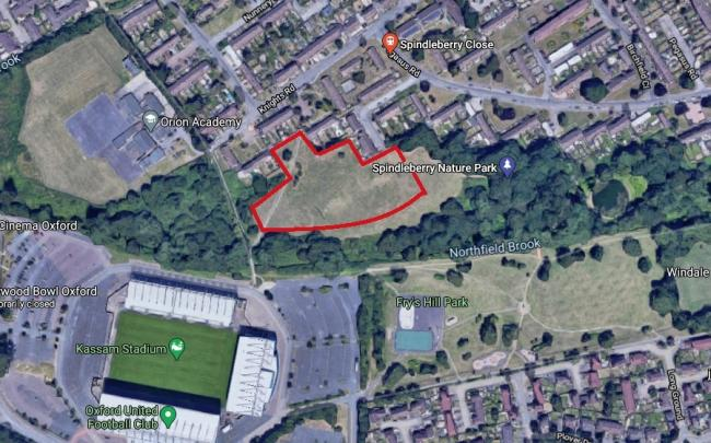 Land next to Spindleberry nature park off Knights Road, Blackbird Leys, where Oxford City Council proposes to build 84 homes. Picture: Google Maps