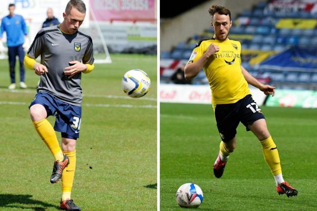 Sam Long's Oxford United debut (left) came at Accrington Stanley in April 2013, while (right) the defender brings the ball forward on Tuesday night  Pictures: David Fleming