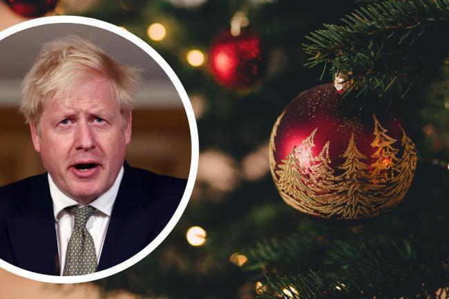 Christmas tree, with inset of Prime Minister Boris Johnson. Picture: PA