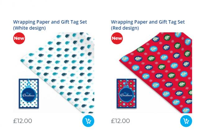 Conservative party sell Christmas wrapping paper for £12