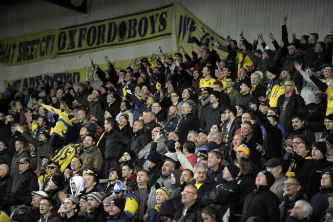Oxford United fans during the home win over Forest Green in December 2015 Picture: David Fleming