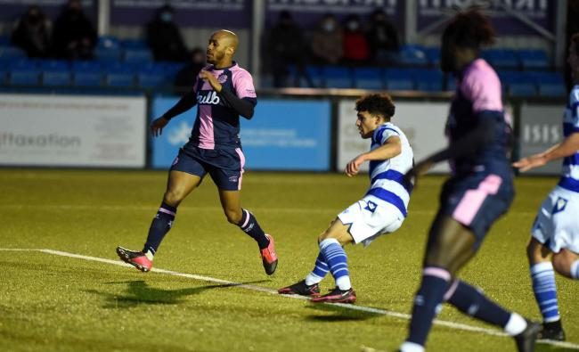 Aaron Drewe fires home Oxford City's winner against Dulwich Hamlet Picture: Mike Allen