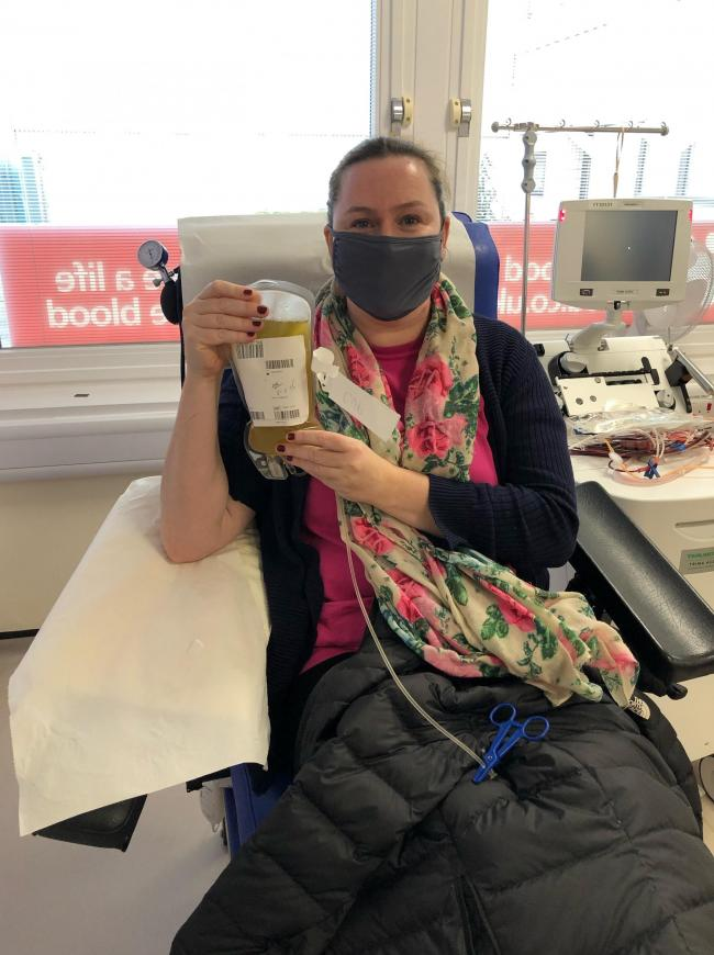 Lizzi Wallace makes her 12th blood plasma donation at the JR