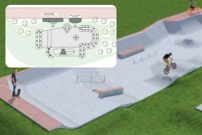 Landscaping plans by Rory Andrews to help reduce noise at new Cholsey skate park.