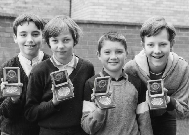 Darts hotshots – left to right, captain Andrew Smith, Andrew Reid, Simon Jackson and Mark Willett, pictured in 1976