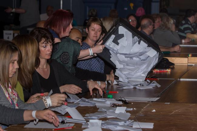 Counting of the first ballots for Oxford City and County Council elections in 2013. Picture: Greg Blatchford.