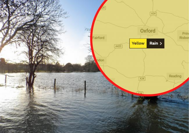 File pic of flooding with the latest weather warning from the Met Office