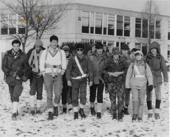 A group of intrepid hikers sets off from Oxford School in the snow on the 1986 Cyril Gardner Memorial hike