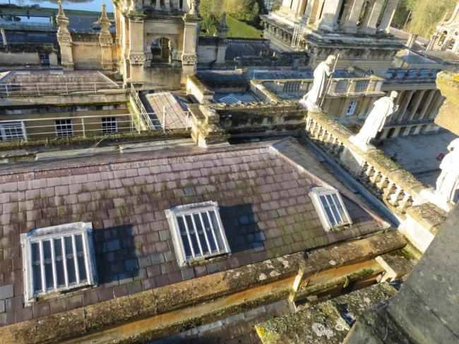 Bird's eye view of affected leadwork around the palace's lightwells. Picture: Blenheim Palace