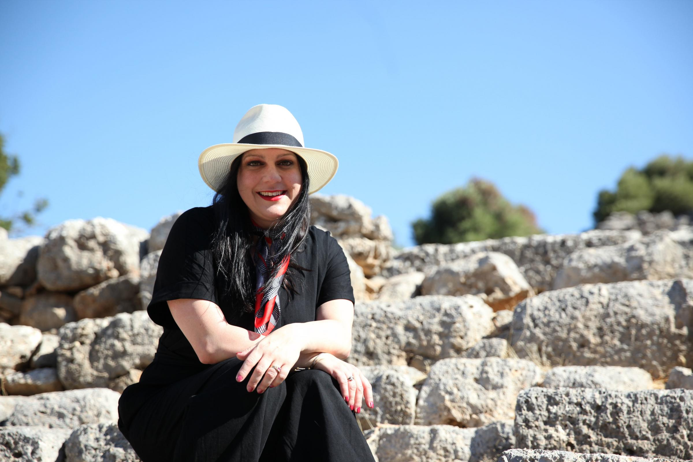 Janina Ramirez on the island of Crete for her new show Raiders of The Lost Past. Picture: Alleycats TV