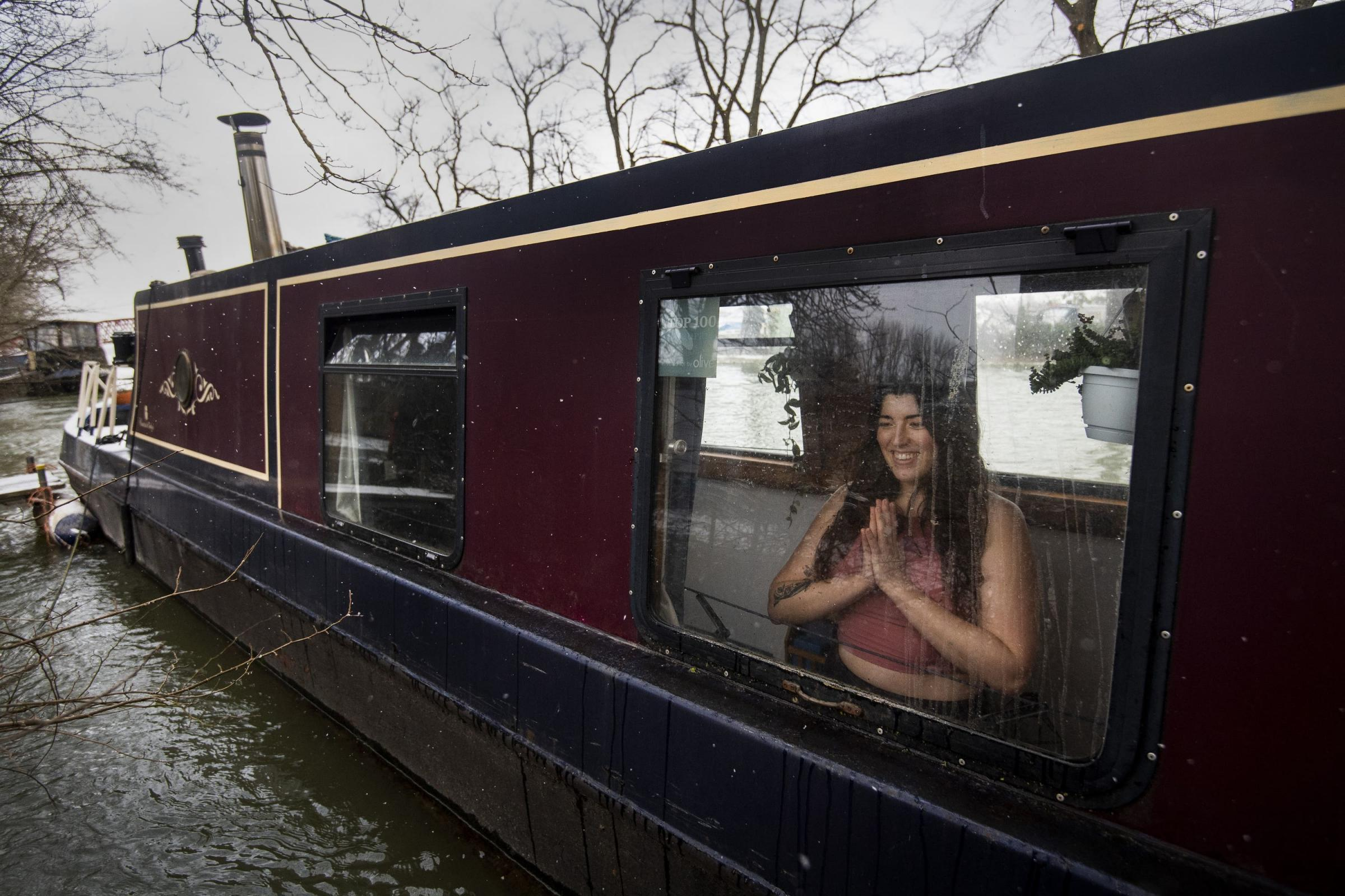 Harriet McAtee has been teaching yoga from her narrowboat. Picture: Victoria Jones/ PA