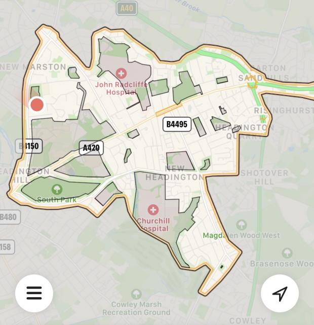 Oxford Mail: A map of the area where scooters are allowed. Grey shows 'no ride' areas.