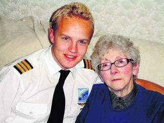 Pilot Peter Chilvers with his grandmother Barbara, who lent him £4,000