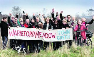 Campaigners celebrating at Warneford Meadow today