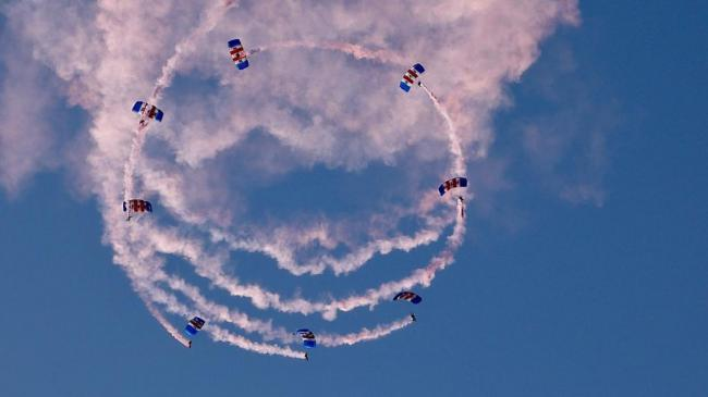 The RAF Falcons decorating the skies above Carterton with their red and white smoke. Picture: RAF Brize Norton