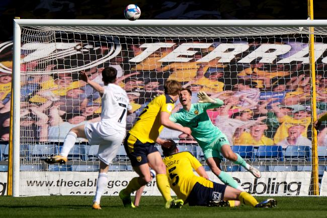 Paul Smyth fires Accrington Stanley in front against Oxford United Picture: Ric Mellis