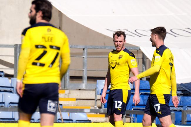 Elliot Lee, Sam Long and James Henry during Oxford United's clash with Accrington Stanley Picture: Ric Mellis